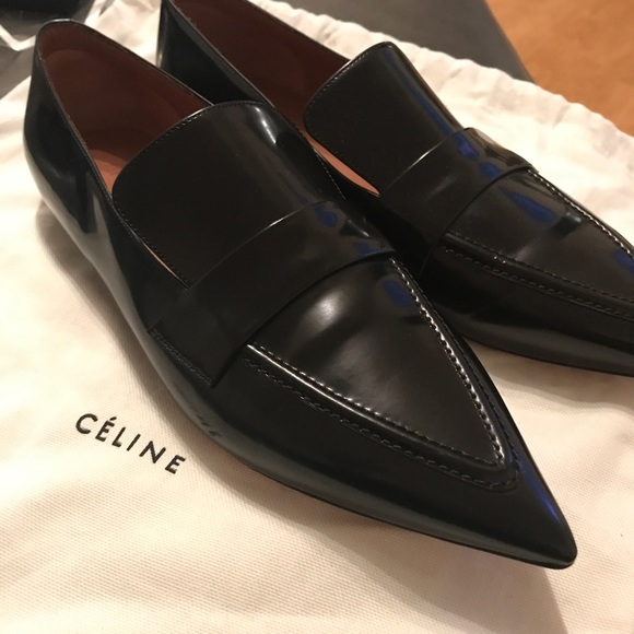 825981ae627 CELINE Black Patent Pointy Toe Loafers